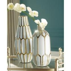 Mohsen Vase (Set of 2), Gold Finish/White