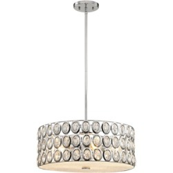 Five Light Chandelier in Polished Chrome With Clear Crystal, Polished Chrome