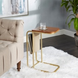 Derby Metal and Wood C Table with Sling Magazine Holder, Gold/Linen