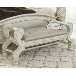 Cassimore Upholstered Bench, Silver