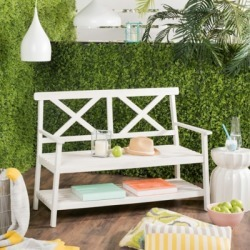 Safavieh Mayer 2 Seat Bench, White found on Bargain Bro from Ashley Furniture for USD $144.39