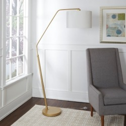Contempo Gold Finish Arched Floor Lamp, White/Gold Finish found on Bargain Bro from Ashley Furniture for USD $113.23