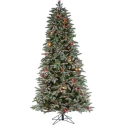 Decorative 6.5' Pre-Lit Flocked Mountain Pine Tree, White