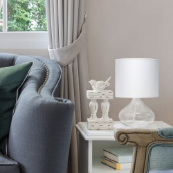 Home Accents Simple Designs Clear Glass Raindrop Table Lamp w White shade, White found on Bargain Bro from Ashley Furniture for USD $34.19