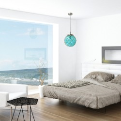 Home Accents Elegant Designs Buoy Netted Coastal Ocean SeaGlass Pendant, Blue found on Bargain Bro from Ashley Furniture for USD $62.31