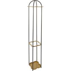 Luxus Metal Coat Rack with Golden Quatrefoil Umbrella Stand, Black/Gold Finish
