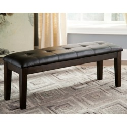 Haddigan Dining Room Bench, Dark Brown Leather