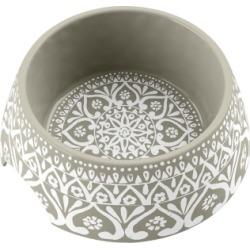 TarHong Boho Medallion Pet Bowl, Medium, Taupe, 7.1 x 2.8