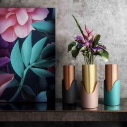 Grey Concrete Vase, Black