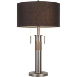 Industrial Table Lamp, Gunmetal/Black Linen