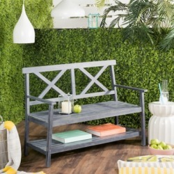 Safavieh Mayer 2 Seat Bench, Ash Gray found on Bargain Bro from Ashley Furniture for USD $151.99