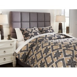Scylla 3-Piece King Comforter Set, Brown/Black found on Bargain Bro Philippines from Ashley Furniture for $145.99