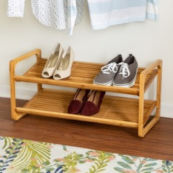 Honey Can Do Two Tier Bamboo Shoe Rack, Brown/Beige