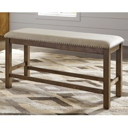 Moriville Counter Height Dining Room Bench, Beige