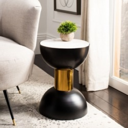 Safavieh Zephyr Round Accent Table, White/Black found on Bargain Bro from Ashley Furniture for USD $93.47