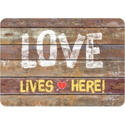"Home Accents Premium Comfort 1'10"" x 2'7"" Love Lives Here Mat, Brown"