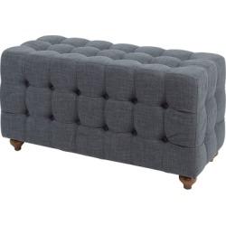 Tufted Upholstered Bench, Dark Gray