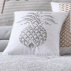 Oceanfront Resort Tropical Plantation Pineapple Pillow, Gray/White found on Bargain Bro from Ashley Furniture for USD $30.39