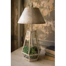 Terrarium Lamp with Metal Shade, Cream
