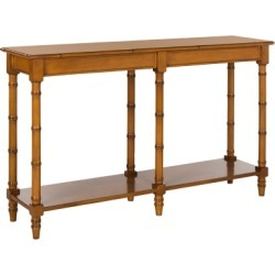 Bamboo Style Coastal Console Table, Brown