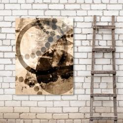 Spinning Crashing Plates 30X40 Acrylic Wall Art, Brown