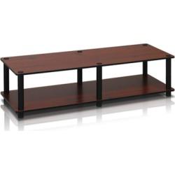 Furinno Just Wide TV Stand, Black/Dark Brown