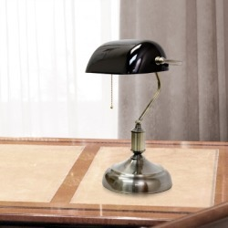 Home Accents Simple Designs Executive Bankers Desk Lamp w BLK Glass Shade, Black found on Bargain Bro from Ashley Furniture for USD $37.99