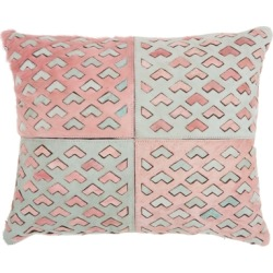 Modern Cut Out Arrows Natural Leather Hide Rose Pillow, Pink