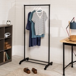 Honey Can Do Rolling Garment Rack with Single Hanging Bar, Black