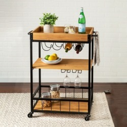 Lynn Industrial Rolling Bar Cart With Removable Serving Tray, Black/Gray found on Bargain Bro Philippines from Ashley Furniture for $199.99