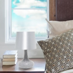 Home Accents Simple Designs Mosaic Tiled Glass Genie Table Lamp, Gray, Gray found on Bargain Bro from Ashley Furniture for USD $37.99