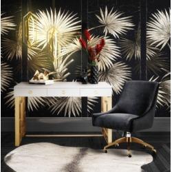 TOV Furniture Beatrix Black Office Swivel Chair, Black/Gray