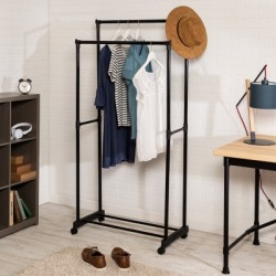 Honey Can Do Rolling Garment Rack with Double Hanging Bars, Black