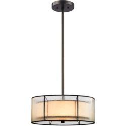 Three Light LED Chandelier, Tiffany Bronze