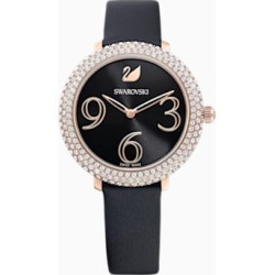 Crystal Frost Watch, Leather strap, Black, Rose-gold tone PVD found on Bargain Bro from  for $189.5