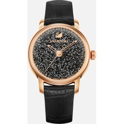 Swarovski Crystalline Hours Watch, Leather strap, Black, Rose-gold tone PVD