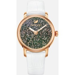 Swarovski Crystalline Hours Watch, Leather strap, White, Rose-gold tone PVD