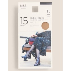 Marks & Spencer 5pk 15 Denier Matt Knee Highs - Natural Tan - Wider Fit found on Bargain Bro from Marks and Spencers - US for USD $3.42