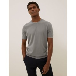Marks & Spencer Cotton Tipped Knitted T-Shirt - Grey - US S found on Bargain Bro Philippines from Marks and Spencers - US for $42.50