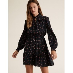 Marks & Spencer Floral Frill Neck Mini Waisted Dress - Black Mix - US 10 (UK 14) found on MODAPINS from Marks and Spencers - US for USD $60.00