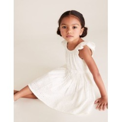 Marks & Spencer Pure Cotton Broderie Dress (2-7 Yrs) - White - 4-5 Years found on Bargain Bro India from Marks and Spencers - US for $30.00