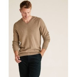 Marks & Spencer Pure Extra Fine Lambswool V-Neck Jumper - Neutral - US XS found on Bargain Bro India from Marks and Spencers - US for $60.00