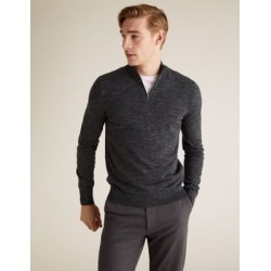 Marks & Spencer Cotton Half Zip Jumper - Charcoal Mix - US XL found on Bargain Bro India from Marks and Spencers - US for $42.50
