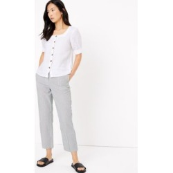 Marks & Spencer Evie Straight Leg Pure Cotton Trousers - Blue Mix - US 8 (UK 12) found on Bargain Bro Philippines from Marks and Spencers - US for $60.00