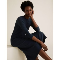 Marks & Spencer Cotton Ribbed Midi Skater Dress - Navy - US 16 found on Bargain Bro India from Marks and Spencers - US for $50.00