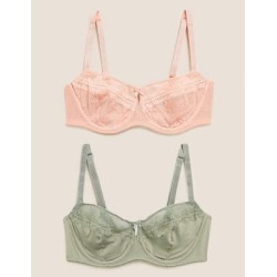 Marks & Spencer 2pk Embroidered Mesh Balcony Bras B-E - Pink Mix - US 38 found on Bargain Bro Philippines from Marks and Spencers - US for $35.00