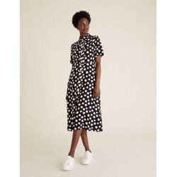 Marks & Spencer Polka Dot Midi Shirt Dress - Black Mix - US 2 found on Bargain Bro India from Marks and Spencers - US for $69.00