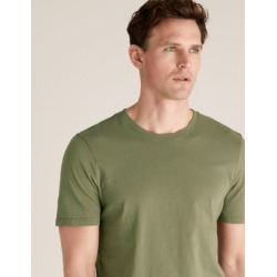 Marks & Spencer Slim Fit Pure Cotton Crew Neck T-Shirt - Olive - US M found on Bargain Bro India from Marks and Spencers - US for $10.50