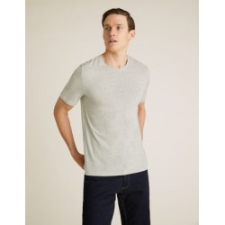 Marks & Spencer Slim Fit Pure Cotton Crew Neck T-Shirt - Ecru Mix - US L found on Bargain Bro India from Marks and Spencers - US for $10.50