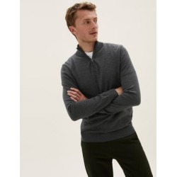 Marks & Spencer Pure Extra Fine Merino Half Zip Jumper - Dark Grey - US XXX L found on Bargain Bro India from Marks and Spencers - US for $69.00